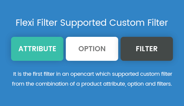 It is the first filter in an opencart which supported custom filter from the combination of a product attribute, option and filters.