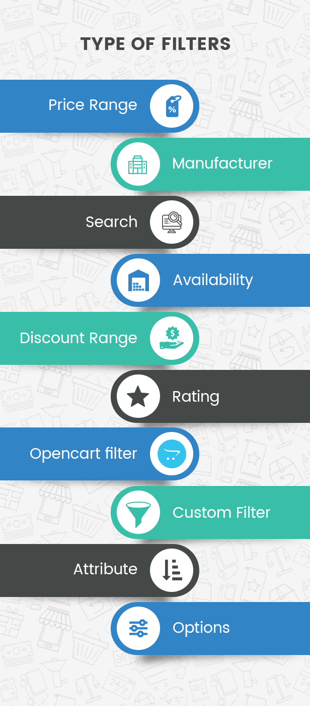 Filter products by Price, Manufacturers, Attributes, Options, Opencart filter, Rating, Discount, Stock status and Keywords.